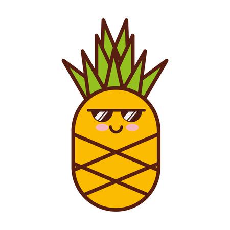 파인애플 신선한 과일 문자 벡터 일러스트 레이 션 디자인