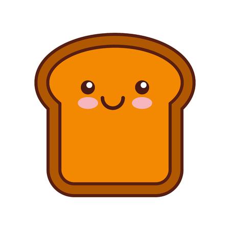Köstliches Brotscheiben-Charaktervektor-Illustrationsdesign Standard-Bild - 80034704