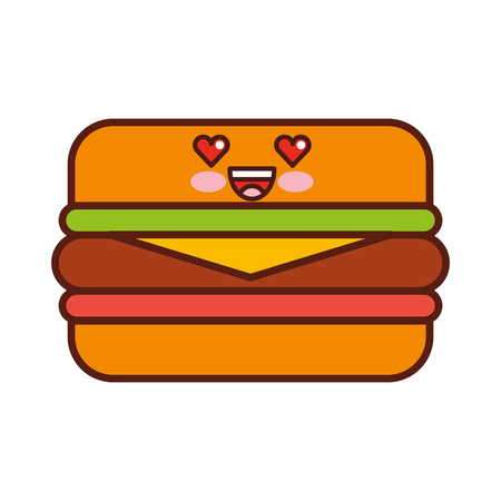 delicious burger character vector illustration design