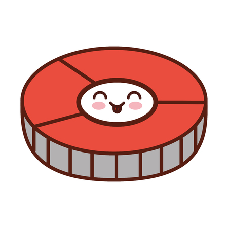 prepared: salmon slice kawaii character vector illustration design