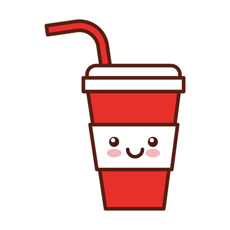 plastic cup kawaii character vector illustration design