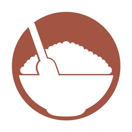Graanschotel Met Lepel Vector Illustratie Ontwerp