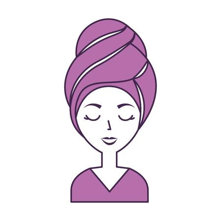 Femme de tête avec le design d'illustration vectorielle de Towell Banque d'images - 80041396
