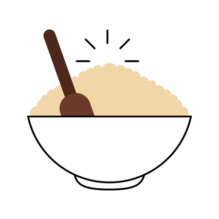 cereal dish with spoon vector illustration design