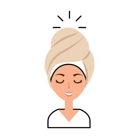 Femme de tête avec le design d'illustration vectorielle de Towell Banque d'images - 80034311