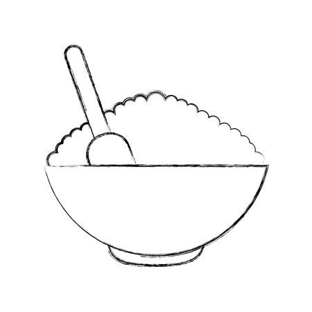 cereal dish with spoon vector illustration design 版權商用圖片 - 80035074