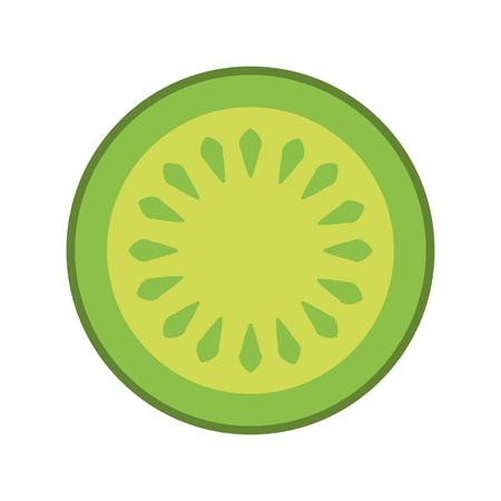 キュウリのスライス分離アイコン ベクトル イラスト デザイン  イラスト・ベクター素材