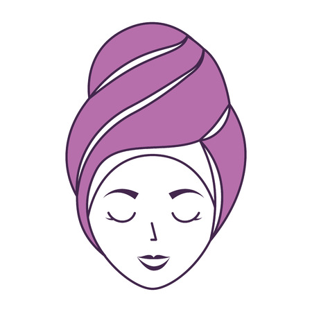 Femme de tête avec le design d'illustration vectorielle de Towell Banque d'images - 80034228