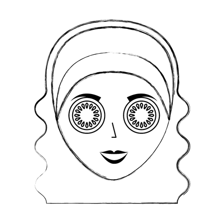 hair mask: cute woman with cucumber mask vector illustration design Illustration