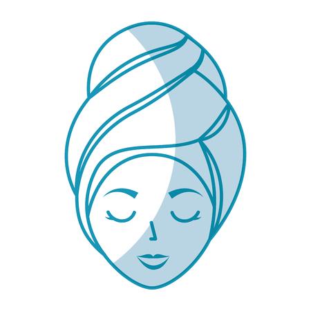 Femme de tête avec le design d'illustration vectorielle de Towell Banque d'images - 80035202