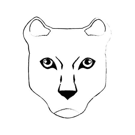 虎白背景ベクトル イラスト上のアイコンに直面します。