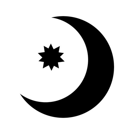 half Moon with star isolated icon vector illustration design Ilustrace