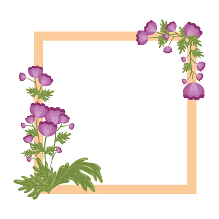 decorative frame with flowers icon over white background colorful design vector illustration