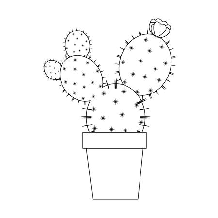 Cactus dans une icône de pot sur illustration vectorielle fond blanc Banque d'images - 80045332