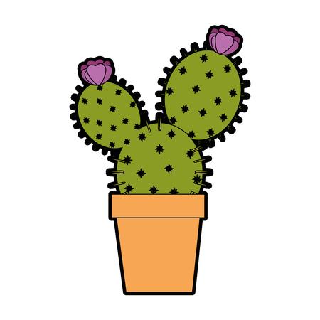 Cactus dans un pot icône sur fond blanc design coloré illustration vectorielle Banque d'images - 80045371