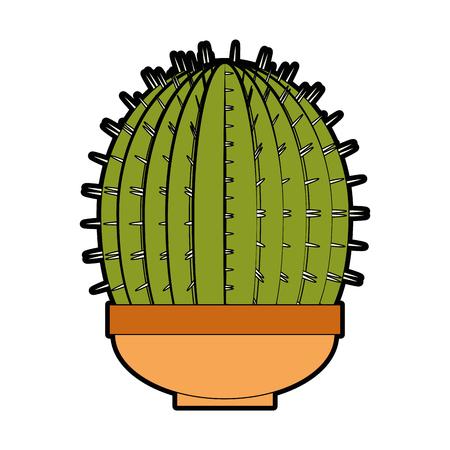 Cactus dans un pot icône sur fond blanc design coloré illustration vectorielle Banque d'images - 80045926