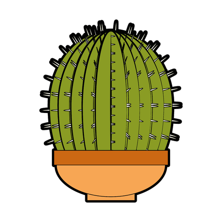 cactus in a pot icon over white background colorful design vector illustration