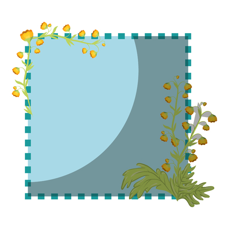 decorative frame with beautiful flowers icon over white background colorful design vector illustration Stock fotó - 80046438