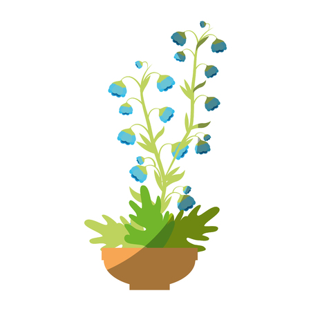 beautiful flowers in a pot icon over white background colorful design vector illustration