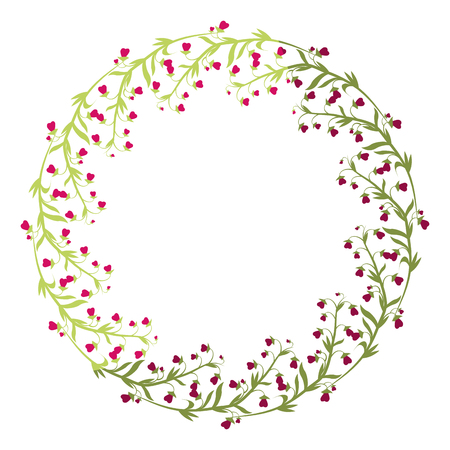 wreath of beautiful flowers icon over white background colorful design vector illustration Stock fotó - 80046418