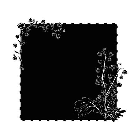 decorative frame with beautiful flowers icon over white background vector illustration Illusztráció