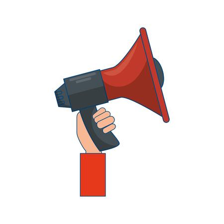 hand holding a megaphone icon over white background vector illustration Illustration