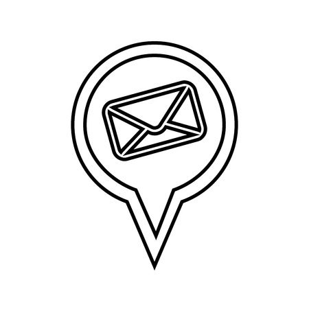 location pin with envelope icon over white background vector illustration Çizim