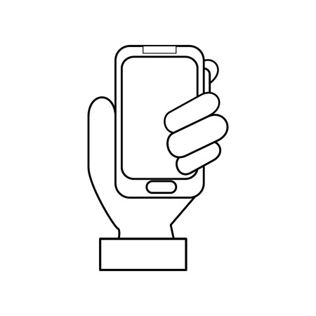 hand holding a smartphone device icon over white background vector illustration