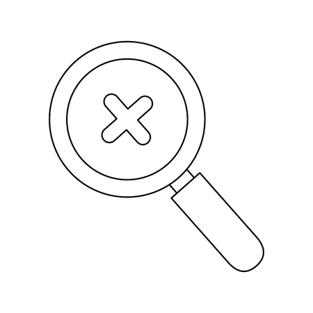 review site: magnifying glass with cross icon over white background vector illustration Illustration