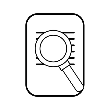 paper page and magnifying glass icon over white background vector illustration
