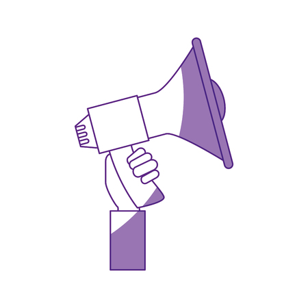 hand holding a megaphone icon over white background vector illustration Illustration