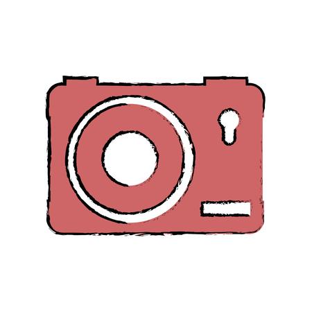 camera icon over white background colorful design vector illustration Ilustração