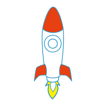 space rocket icon over white background colorful design vector illustration