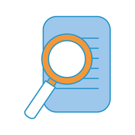 paper and magnifying glass icon over white background colorful design vector illustration