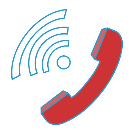 phone handset icon over white background colorful design vector illustration Illustration