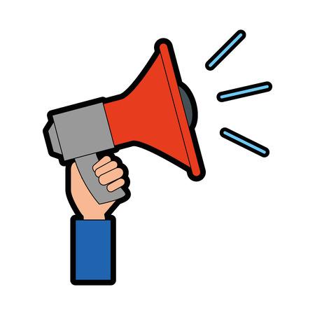 hand holding a megaphone icon over white background colorful design vector illustration Illustration