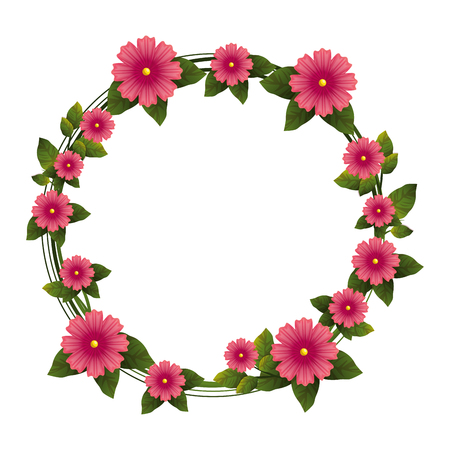 wreath of beautiful flowers icon over white background colorful design vector illustration Stock fotó - 80049793