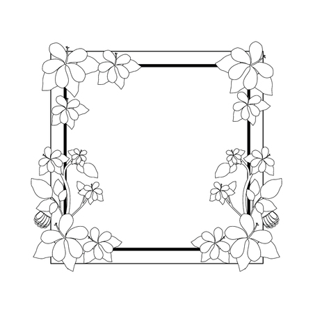 decorative frame with beautiful flowers icon over white background vector illustration Ilustração