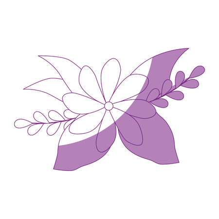 beautiful flower and leaves icon over white background vector illustration Ilustrace