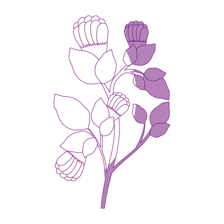 beautiful flowers and leaves icon over white background vector illustration Ilustração