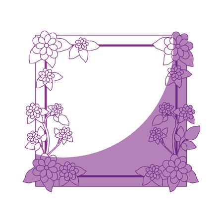 decorative frame with beautiful flowers icon over white background vector illustration Ilustrace