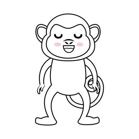 happy monkey icon over white background vector illustration Illustration
