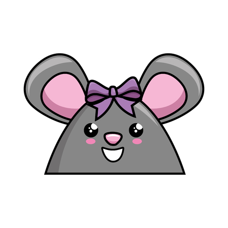 kawaii mouse icon over white background colorful design vector illustration Illustration