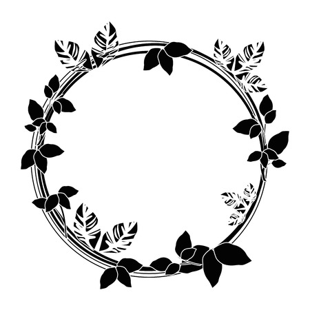 decorative wreath of flowers icon over white background vector illustration Stock fotó - 80051888