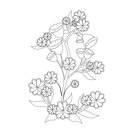 beautiful flowers and leaves icon over white background vector illustration Stock fotó - 80051893