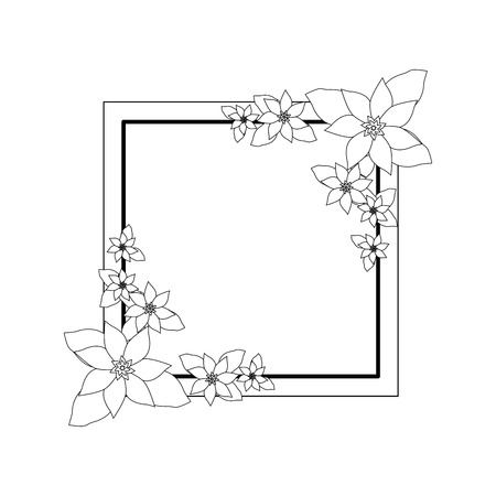 decorative frame with beautiful flowers icon over white background vector illustration Stock fotó - 80050094