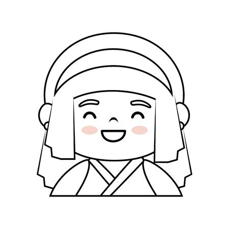 japanese girl icon over white background  vector illustration Illustration
