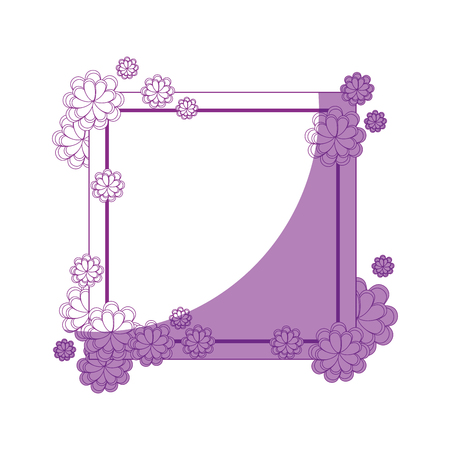 decorative frame with beautiful flowers icon over white background vector illustration Illusztráció