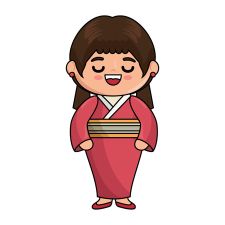 japanese girl wearing a kimono icon over white background colorful design vector illustration