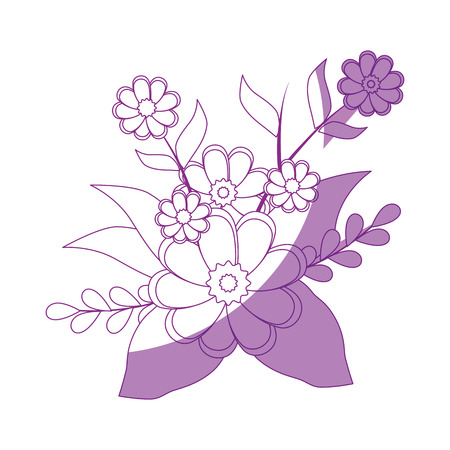 beautiful flowers and leaves icon over white background vector illustration Illustration